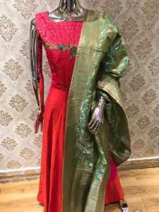Red Suit with Heavy Dupatta
